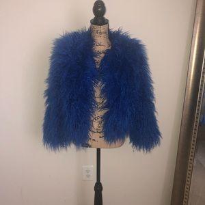Jackets & Blazers - Royal Blue Faux Fur Jacket
